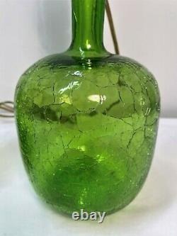 PAIR of Myers Green Crackle Glass BLENKO Table lamps with Finials. Mid Century