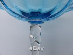 Pair Antique Early 20thC Carder Era Steuben Celeste Blue & Clear Glass Compotes