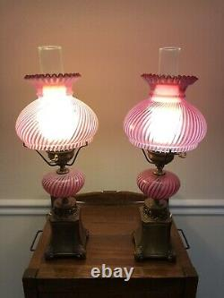 Pair Of Vintage Fenton Cranberry Opalescent Swirl Optic Student Lamps(2)