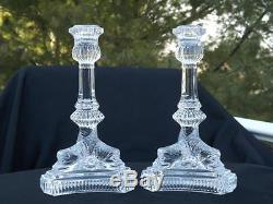 Pair Tiffany & Co. Dolphin Koi Fish Crystal Glass Candlesticks Candle Holders