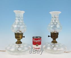 Pair Vintage Fenton White Opalescent Coin Dot Lamps Boudoir Night Table Glass