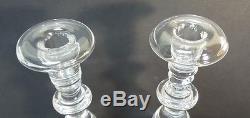 Pair Vintage Steuben Crystal 8.75 Baluster Teardrop Candlesticks, # 7792