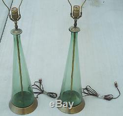 Pair of 1960s Blenko Marbro Green Glass Mid Century Studio Lamps