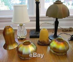 Pair of Antique Quezal Iridescent Gold Art Glass 3-3/4 Lamp Shades