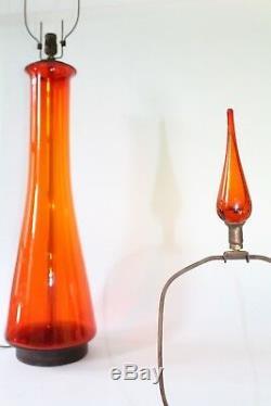 Pair of Blenko Tangerine Glass Table Lamps