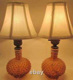 Pair of Rare Fenton Hobnail Cameo Opalescent Glass Table Boudoir Dresser Lamps