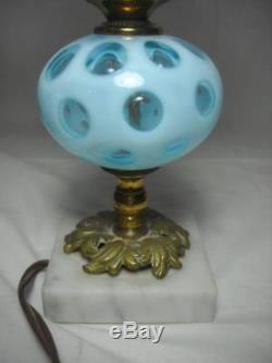 Pair of Vintage Fenton Blue Coin Dot Boudoir Lamps with Frosted Shades