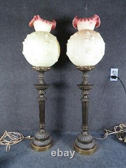 Pair of vintage Fenton banquet Lamps