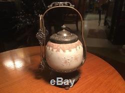 Pairpoint & Mount Washington Tea Cracker Pickle Jar & SP Basket w Tongs #669