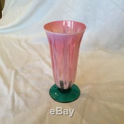 Pink and Opalescent With Green Base Glass/Small Vase LCT Etched on Base