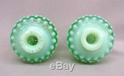 Pr. Opalescent Green Fenton Hobnail Perfumes, Original Stoppers 1940-41, Perfect