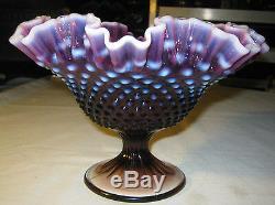 Premium Vintage Fenton Lg Plum Hobnail Opalescent Art Glass Compote Stand Bowl