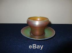 Quezal American Art Glass Gold Iridescent Pair Cup and Saucer Signed