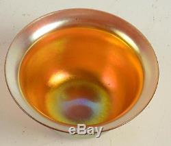 RARE Antique Original Steuben New York Art Glass Gold Aurene Signed Bowl