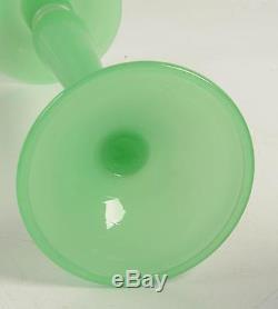 RARE Antique Original Steuben New York Art Glass Signed Jade Green Candlestick