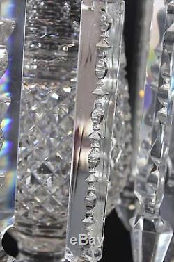 RARE! Antique PAIRPOINT Cut Glass Crystal Lustre Vases with Prisms, NR
