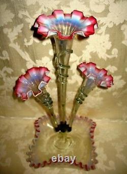 RARE Antique Victorian Art Nouveau Opalescent Cranberry 3 Horn Epergne