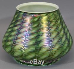RARE & Authentic Signed QUEZAL Iridescent American Art Glass Lamp Shade, NR