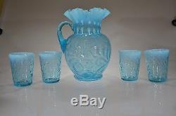 RARE BLUE OPAL No. 351 Buttons & Braids Pitcher 4 Tumblers c 1908 FENTON MUSEUM