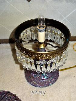 RARE Beautiful Fenton Violet /Purple Carnival Glass Parlor Table Lamp Crystals