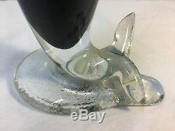 RARE Blenko Charcoal & Clear Mermaid Decanter, Wayne Husted Signed