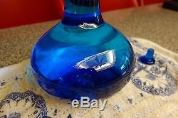 RARE Blenko blue glass decanter withopen handle and stopper RARE