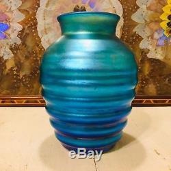 RARE C. 1930 DURAND BEEHIVE VASE ART GLASS LUSTRE IRIDESCENT BLUE Aurene SIGNED