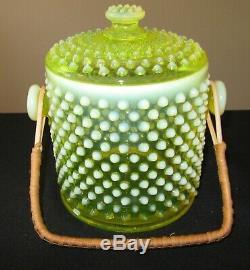 RARE Fenton Hobnail Topaz Opalescent Vaseline Cookie Jar # 389 Exc Condition