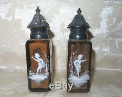 RARE MATCHING Victorian 1890's Mary Gregory Amber Glass Salt & Pepper Shakers