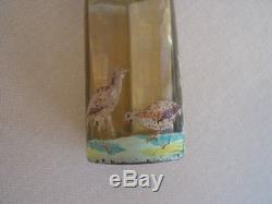RARE Mt Washington Amber Chevarie Pillar Salt Shaker w H P Game Birds 3.5 inches