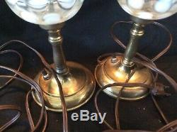 RARE Pair Vintage Fenton Opalescent Coin Dot Lamps With SHADES 13 1/2 BOTH WORK