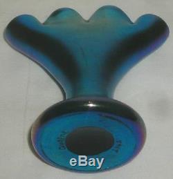 Rare Signed Steuben Blue Aurene # 2762 4 Form Bud Vase / Pristine No Damage