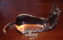 Rare Steuben Art Glass Crystal Mink Horizontal Figurine With Diamond Eyes 8333