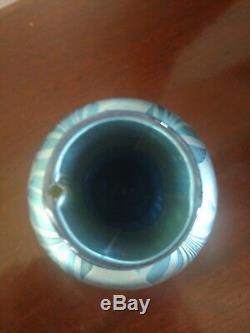 RARE STEUBEN Carder Era BLUE AURENE #734 DECORATED ART GLASS VASE
