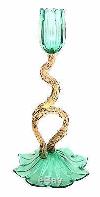 RARE Steuben Floral Candlesticks Shape 6058 American Art Glass NR