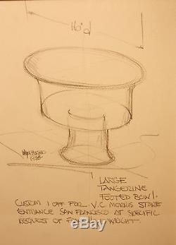 Rare Unique Wayne Husted Blenko Bowl Design Order By Frank Lloyd Wright Signed