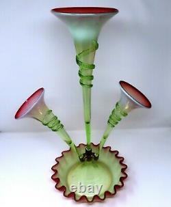 RARE Victorian Art Nouveau Vaseline Cranberry 3 Horn Epergne 1890's WOW