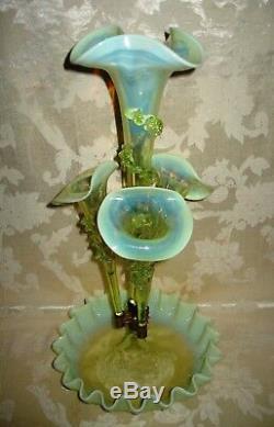RARE Victorian Art Nouveau Vaseline Uranium 4 Horn Epergne 1890's WOW