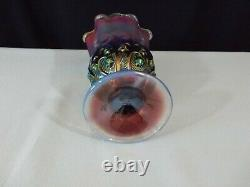 RARE Vintage FENTON LILY OF The VALLEY PLUM OPALESCENT Handkerchief VASE 7.5