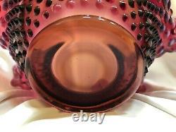 RARE Vintage FENTON Plum Opalescent Hobnail Ruffled Crimped Glass Bowl/Vase