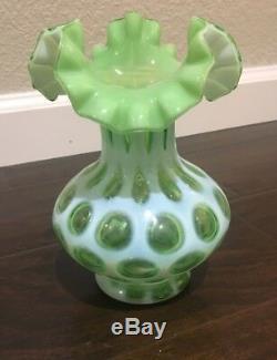 RARE! Vintage Fenton 7 Opalescent Green Coin Dot Spot Ruffle Vase