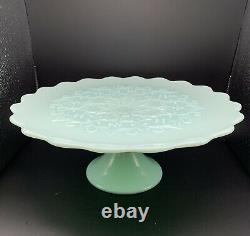 RARE Vintage Fenton Art Glass MINT GREEN Spanish Lace Cake Stand Mid Century