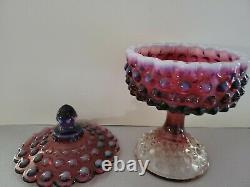 RARE Vintage Fenton Glass Plum Opalescent Hobnail Candy Dish Compote Excellent