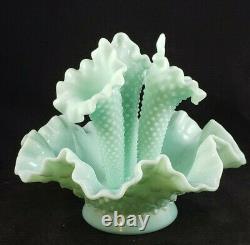 RARE Vintage Mint Green Fenton Hobnail Milk Glass Epergne Vase Ruffled Bowl