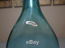 RARE! Wayne Husted Blenko #5419 Pinched Indented Decanter MCM Art Glass Bottle