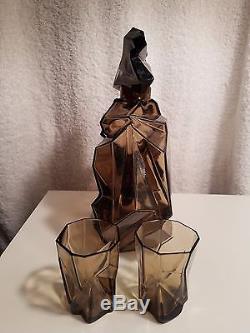 Ruba Rombic Smokey Topaz Glass Whiskey Decanter /two Glasses, Art Deco Depression