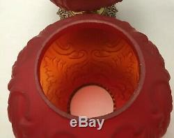 RUBY SATIN FENTON ART GLASS 18.5t GONE withTHE WIND REGAL ELECTRIC TABLE LAMP