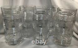 Ralph Lauren Crystal Glen Plaid Highball Whiskey Cocktail Barware Set of 5