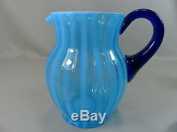 Rare 1920's Vintage Fenton Rib Optic Stripe Blue Opalescent Ice Tea Set #220