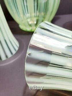 Rare 1920s Fenton uranium glass optic rib Pitcher Set 5 Cups Cobalt Handles